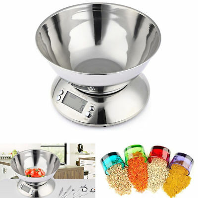 5kg Digital Stainless Steel Mixing Bowl Food Kitchen Scales With Alarm Timer