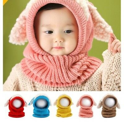 Baby Scarf Hat Toddler Cap Knitted Beanies Cute Winter Headwear Gift  AU