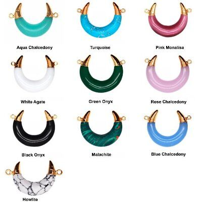 Select Stone Necklace Multicolor Double Horn Pendant Gold Plated Jewelry 33x20mm