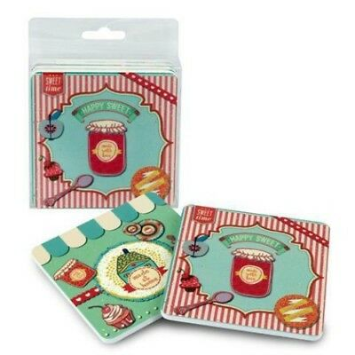 Set de 4 Salvamanteles Decorativos Madera. Cocina. Scrapbook. 0.5 x 10 x 10 cm.