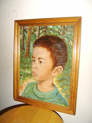 portrait of a boy - oil on canvas framed 2002