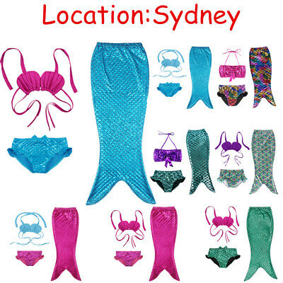 3-10Y Kids Girls 3PCS Cute Mermaid Tail Bikini Swimwear Swimsuit Bathe Costume