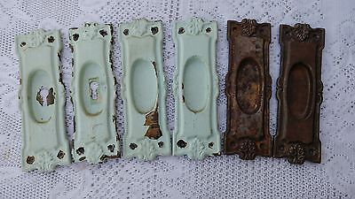 6 Matching Antique Rare Ornate Pocket Door Pull Plates