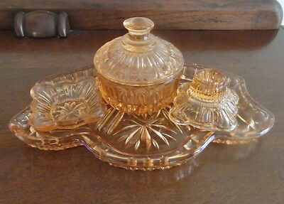 Peach Coloured Depression Glass Dressing Table Set