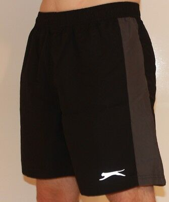 Mens SLAZENGER SHORTS BLACK GREY STRIPE Elastic Waist PLUS SIZE S M L XL 2XL 3XL