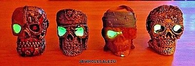 Lot Of 4 Skull Glow In Dark Cigarette Snuffers-Hand Painted-Colorful-FREE SHIP