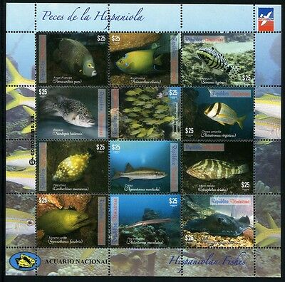 DOMINIKANISCHE REPUBLIK 2014 Fische Fishes Poissons Pesci Meerestiere ** MNH