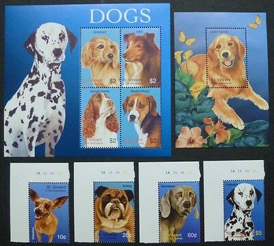 ST. VINCENT 2003 Hunde Dogs Dackel Collie Retriever 5951-58 + Bl.625 ** MNH
