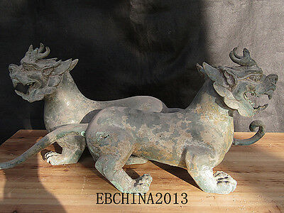 """20""""Old Antique Chinese Ancient collection Bronze A pair of monster kirin statue"""