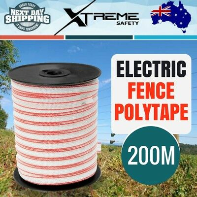 200M Polytape Electric Fence Energiser Roll Poly Rope Insulator Stainless Steel