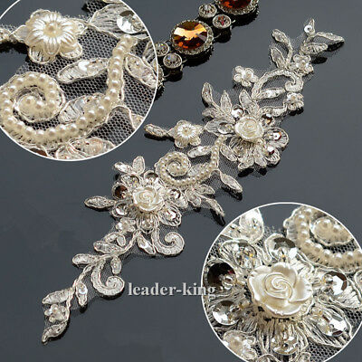 1x Flower Pearl Sequin Lace Applique Trim Wedding Bridal Embroidery Sew Crafts