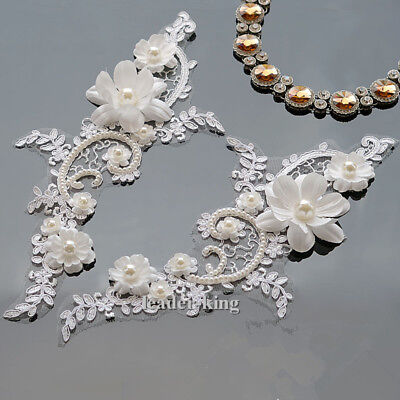 Embroidery Sew Motif Pearl Beaded Applique Floral Bridal Wedding Lace Trimming