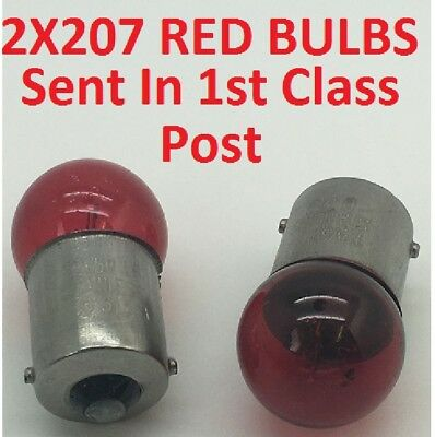 2  x Autolamps 207R Red R5W BA15S Rear Tail Light Car Bulb 207 12v 5w