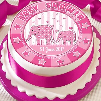 Personalised Elephant Pink Girl Baby Shower Precut Edible Cake Topper Decoration