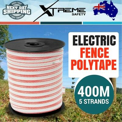 400M Polytape Electric Fence Energiser Roll Poly Rope Insulator Stainless Steel