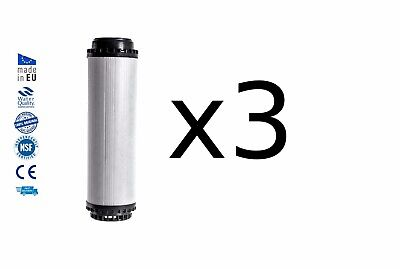 3x Water filter cartridge with activated coconut shell carbon replacement 10""