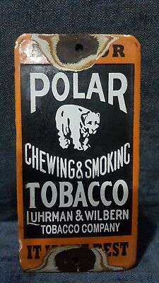 porcelain enamel polar chewing and smoking tobacco sign