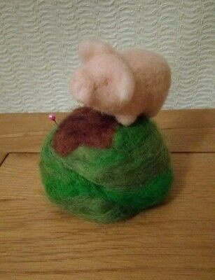 🐖 Needle Felted Pin Cushion Pig Piglet / Handmade 🐖