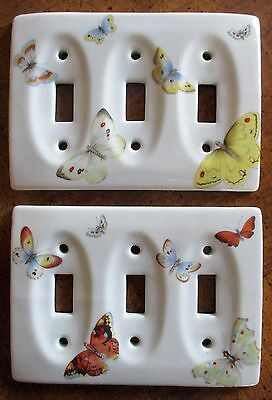 Vtg BUTTERFLY Triple Light Switch Cover Plates Porcelain PAIR 2 Butterflies