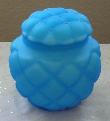 Blue Diamond Quilted Florette Biscuit Jar Consolidated Glass Antique Victorian