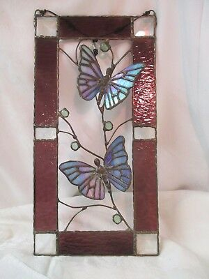 Vintage Art hanging Stained glass Panel with 3D Butterflies