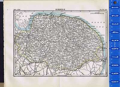 1907 NORFOLK - Maritime County in England - Antique Country MAP + BONUS