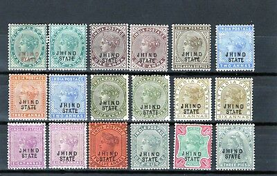 INDIA-Jind , nice QV collection with values to Rupee 1 x 2 MINT hinged
