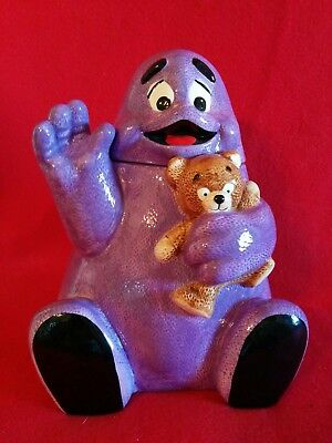 RONALD McDONALD LG. GRIMACE COOKIE JAR W/ TEDDY BEAR TREASURE CRAFT STILL IN BOX
