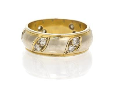 Vintage 14K Yellow and White Gold Diamond Wedding Band