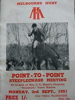 1951 Melbourne Hunt Point To Point Race Book