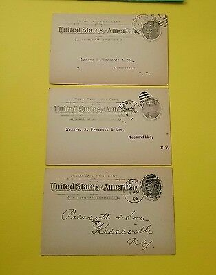 USA 1890's Jefferson 1 cent post cards x 3