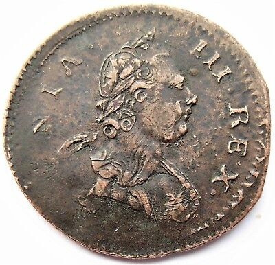 George III 1770 Non Regal Halfpenny ERROR Flipped double struck amazing result