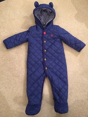 Joules Baby Boys Navy Blue Quilted Waterproof All-in-one Snowsuit 6-9months