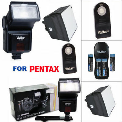 Vivitar Zoom Flash + Charger + Diffuser + Remote For Pentax Dslr Cameras