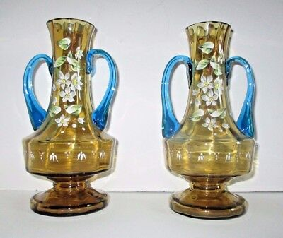 Pair Antique Bohemian Moser Enameled Amber Vase Applied Blue Art Glass Victorian