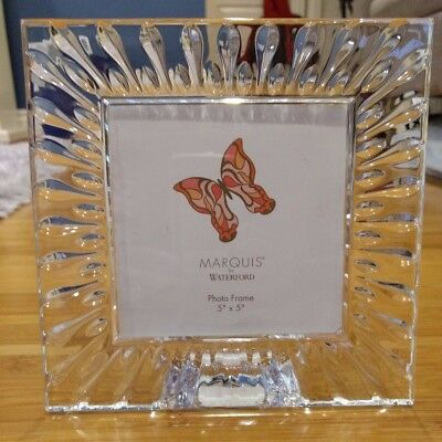"""Waterford Marquis Lead Crystal 5x5"""" Photo Frame"""