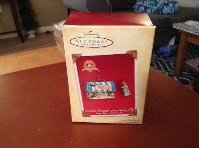 HALLMARK Keepsake Ornament Set 2 LOONEY TUNES Lunch Box w/ Thermos For Porky Pig