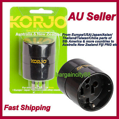 Korjo Adapter Plug Charger from EU EUR/US USA/Japan/Asia to AU AUS Australia&NZ