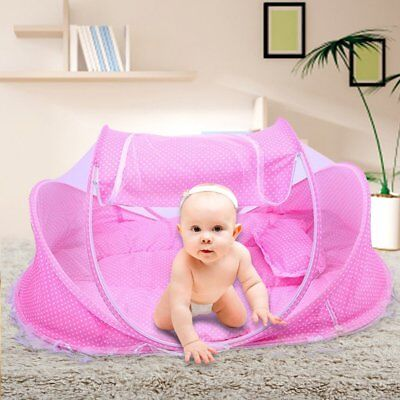 Folding Crib Mosquito Net Portable Pink Baby Travel Bed Beach Age 0 to 18 Months