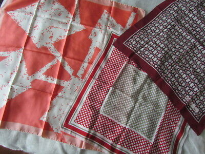 Silk Scarf Lot Christian Dior red grey France Guerlor Paris Coral Abstract Italy