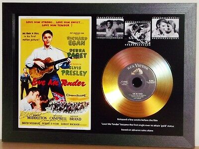 Elvis Presley 'love Me Tender' Signed Photo With Gold Disc