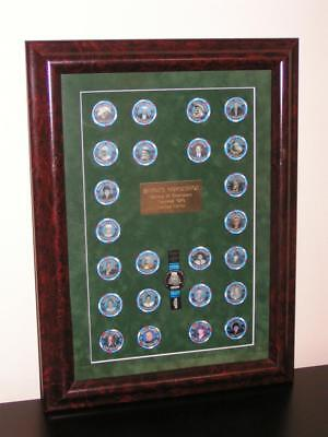 BINIONS Horseshoe WSOP 25th Anniv BURLWOOD Framed $2.50 Chip Set, *PLUS* 1994-97
