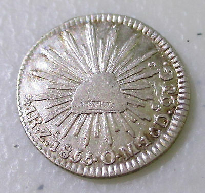 Nice 1855 Mexico 1 Real Silver Foreign Coin - Lot S32