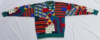 Vintage Bill Cosby Sweater Colorful Boston Trader's Size L Geometric 100% Cotton