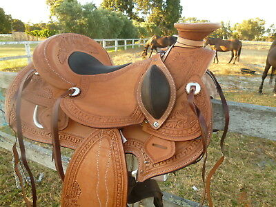Wade Western Saddle Chestnut  leather with fantastic floral pattern embossing