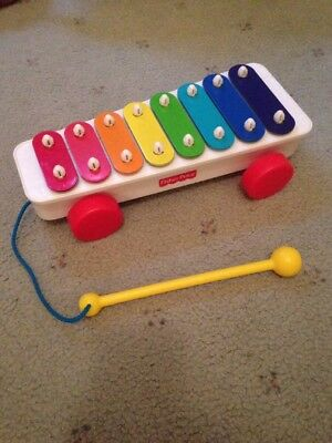 Fisher Price Brilliant Classic Xylophone - 8 Keys, pull along Tethered mallet