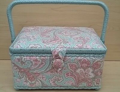 BNWT-Hobby Gift-Medium-Blue/Pink Paisley Design Fabric Covered Sewing Box