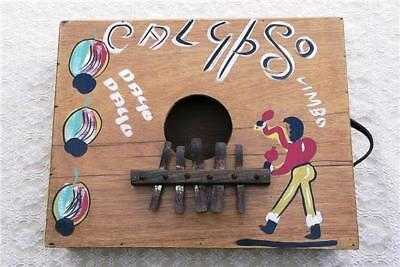 Vintage Calypso Rumba Box Marimbula Folk Musical Instrument ~ Wood Metal Leather