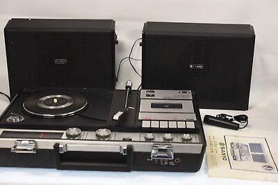 Sanyo G-2612H Briefcase Portable Record Player/Cassette Deck/Radio/Turntable