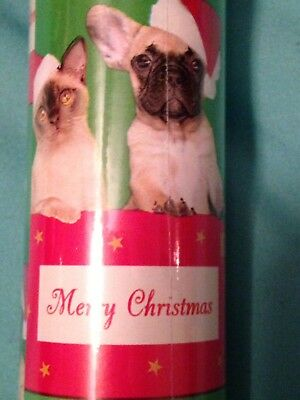 Holiday Christmas wrapping paper GIFT WRAP FRENCH BULLDOG CLEARANCE SALE
